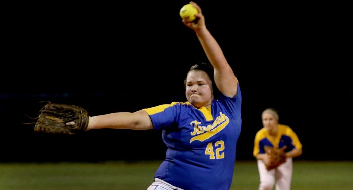 Charlotte's Tiffany Dodson fires a pitch in the top of the 6th inning, during Tuesday night's home game against Bishop Verot (Sun Photo by Michele Haskell).