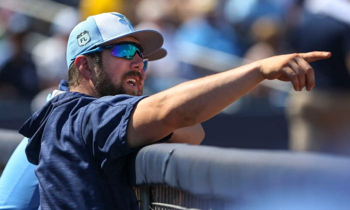 Tampa Bay Rays outfielder Steven Souza Jr. (20) watches the action against Minnesota from the dugout Tuesday at Charlotte Sports Park (Sun Photo by Tom O'Neill).