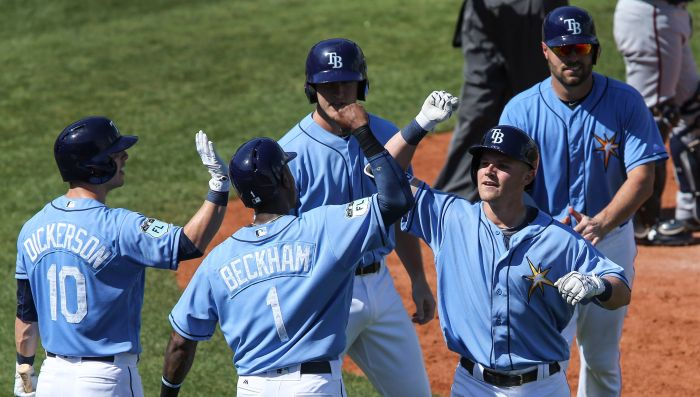 Tampa Bay Rays first baseman Jake Bauers (70) is congratulated after hitting a grand slam home run against Minnesota during the third inning Tuesday at Charlotte Sports Park (Sun Photo by Tom O'Neill).