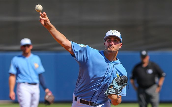 Tampa Bay Rays starting pitcher Jake Odorizzi (23) faces Philadelphia Wednesday at Charlotte Sports Park (Sun Photo by Tom O'Neill).