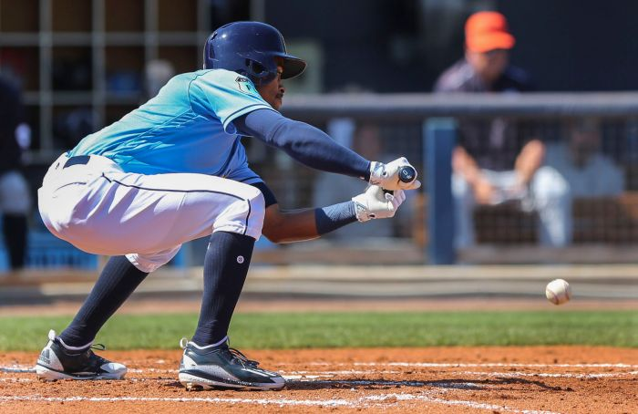 Tampa Bay Rays center fielder Mallex Smith (0) bunts for a base hit against Detroit during the second inning Friday at Charlotte Sports Park (Sun Photo by Tom O'Neill)